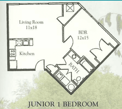 Floorplan, Waterside Apartments, Cohoes, New York