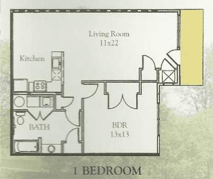 1br Floorplan, Waterside Apartments, Cohoes, New York