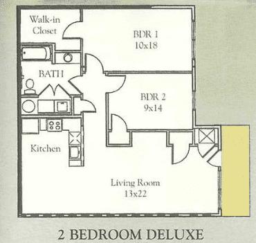 2br Floorplan, Waterside Apartments, Cohoes, New York